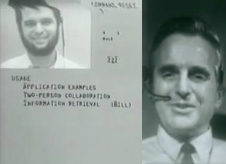 stills from The Mother of All Demos, presented in San Francisco by Doug Engelbart (right) in 1968
