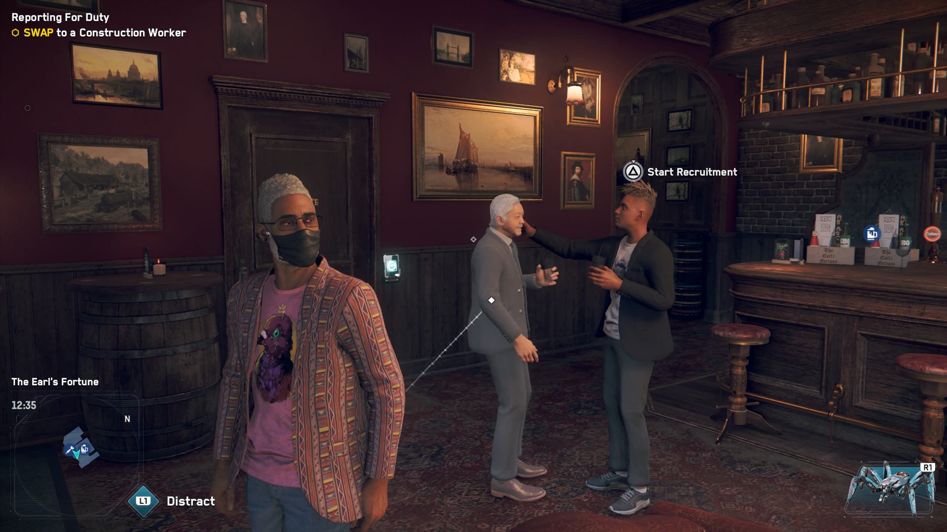 Screenshot from Watchdogs: Legion. Shows the player character wearing a mask inside a pub while two non-player characters without masks in the background talk. One of the non-player characters is casually laying a hand on the shoulder of the other.