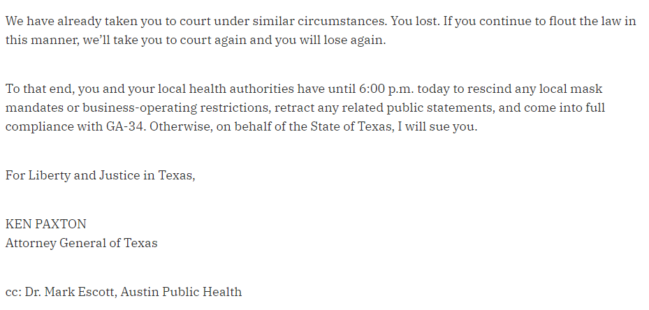 Image of excerpt from letter from Texas Attorney General Ken Paxton to Austin and Travis County leaders.